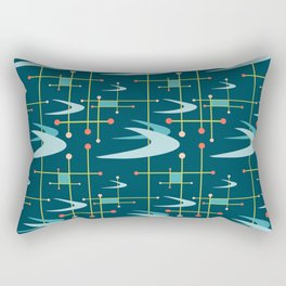 Mid Century Modern Boomerangs in Blues Rectangular Pillow