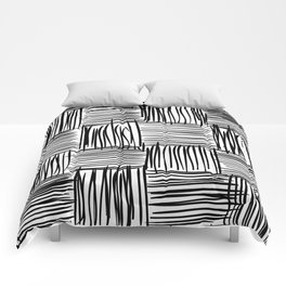 Modern Square Black on White Comforters