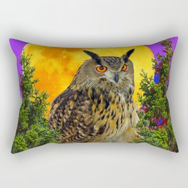 LONG-EARED OWL & MOON PANTENE PURPLE  ART DESIGN Rectangular Pillow