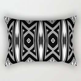 Tribal Black and White Textile Pattern Rectangular Pillow