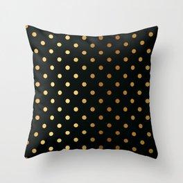 Gold polka dots on black pattern Throw Pillow
