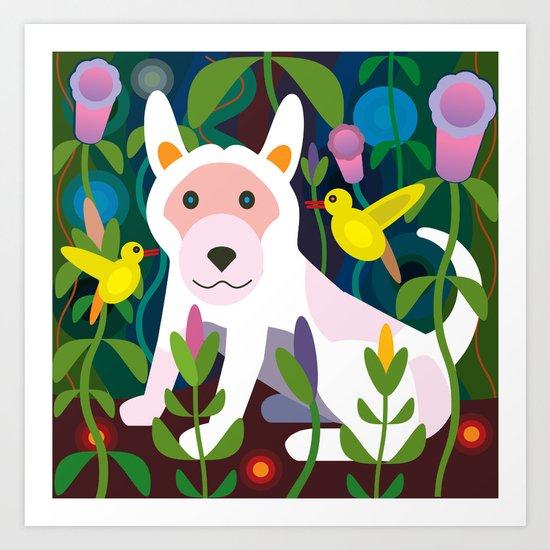 White Dog in Garden Art Print