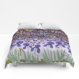 butterflies aflutter above irises and frogs Comforters
