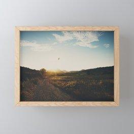 A bird in flight & a vineyard at sunset Framed Mini Art Print