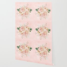 Wild Roses on Seashell Pink Watercolor Wallpaper