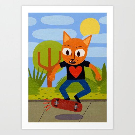 Skateboarding Cat Art Print