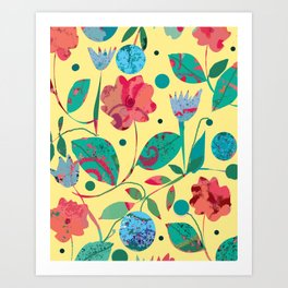 Flowers and Planets Art Print