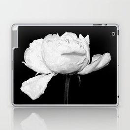 White Peony Black Background Laptop & iPad Skin