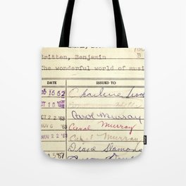 Library Card 780 The Wonderful World of Music Tote Bag