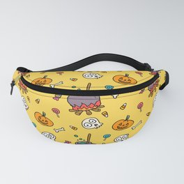 Happy halloween pumpkins, skulls, candies and pots pattern Fanny Pack