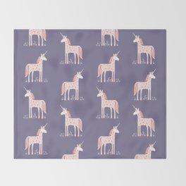 Unicorn with Flowers Throw Blanket