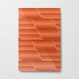 Geo Stripes - Rust Orange Metal Print