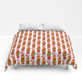 Grilled Veggies - BBQ Doodle Pattern in White Comforters