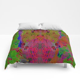 Sugar Skull and Girly Corks (Ultraviolet, Psychedelic) Comforters