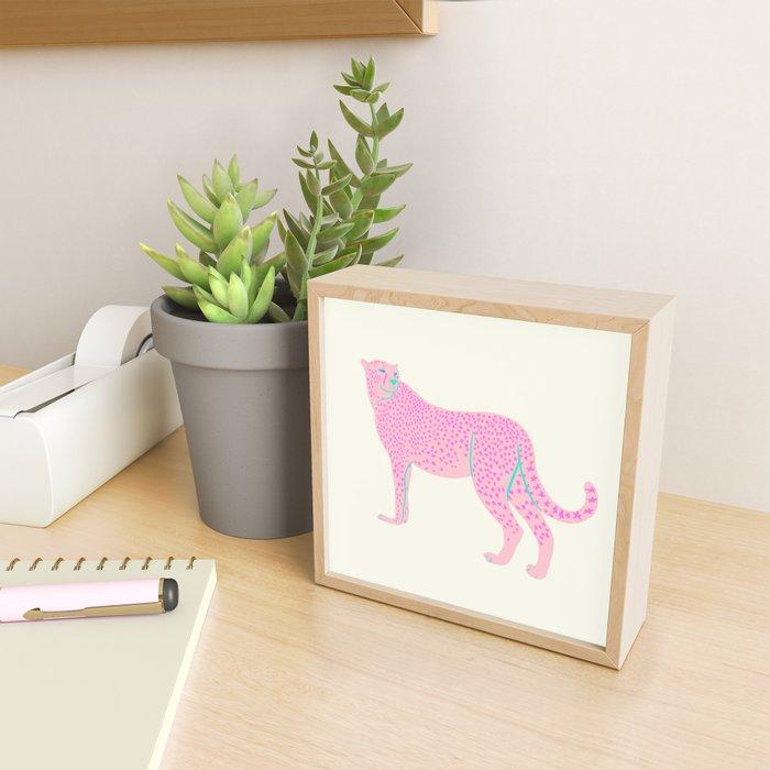 PINK STAR CHEETAH Framed Mini Art Print