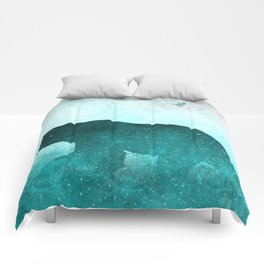 Teal Ghost Bear Comforters