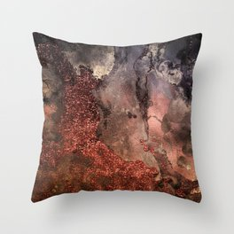Copper Glitter Stone and Ink Abstract Gem Glamour Marble Throw Pillow