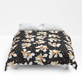 White And Orange Flowers On Black Comforters