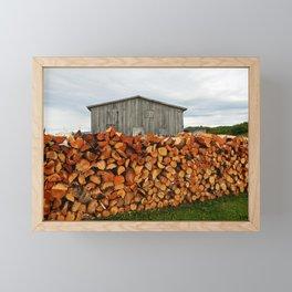 Barn and Firewood Framed Mini Art Print