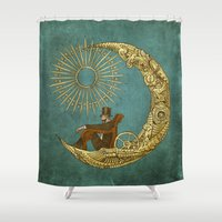 danny haas Shower Curtains featuring Moon Travel by Eric Fan