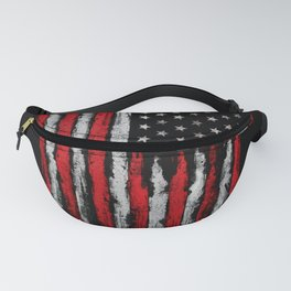 Red & white Grunge American flag Fanny Pack