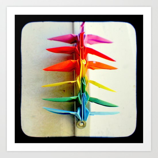 Rainbow Peace Cranes Art Print