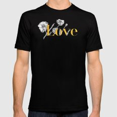 Love - Gold flowers and polkadots on white Black MEDIUM Mens Fitted Tee