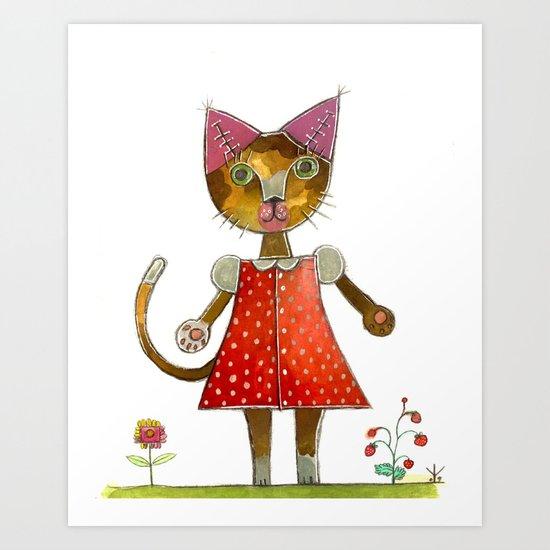 Strawberry Kitty Cat Art Print