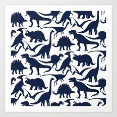 Little Dinosaur Friends - indigo Art Print