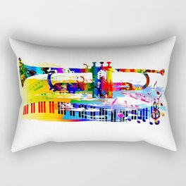 Abstract colorful music instrument painting.Trumpet, piano, musical notes, color splash, treble clef Rectangular Pillow