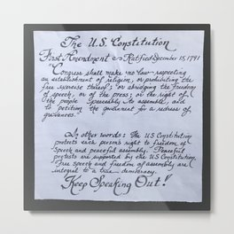 The U.S. Constitution First Amendment in calligraphy Metal Print