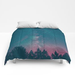 Blue Purple Pink Silhouette Milky Way Galaxy Forest Comforters