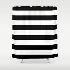 Stripe Black & White Horizontal Shower Curtain