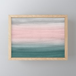 Touching Teal Blush Gray Watercolor Abstract #1 #painting #decor #art #society6 Framed Mini Art Print