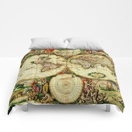 Ancient World Map 1689 Comforters