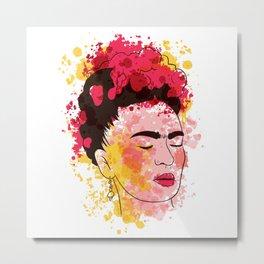 Watercolor Frida Kahlo Design Metal Print