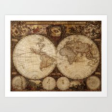 Vintage Map of the World Art Print