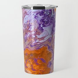 Clemson Orange and Purple Paint Pour Effect Travel Mug