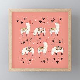 White Llamas in a pink desert Framed Mini Art Print