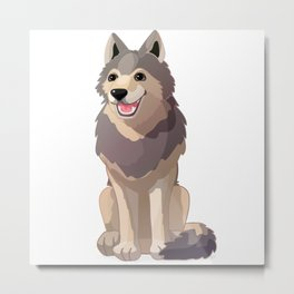 Happy gray wolf. Vector graphic character Metal Print