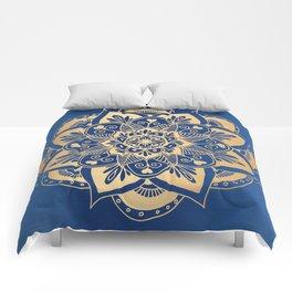 Blue and Gold Flower Mandala Comforters