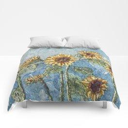 Watercolor Sunflowers,Watercolor Batik, Sunflower Art,Sunflower Flower Comforters