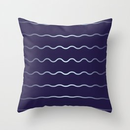 Blue and soft waves Throw Pillow