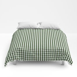 Small Dark Forest Green and White Gingham Check Comforters
