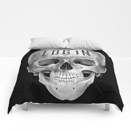 Skull Log in B&W Comforters