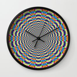 Rosette in Yellow and Blue Wall Clock