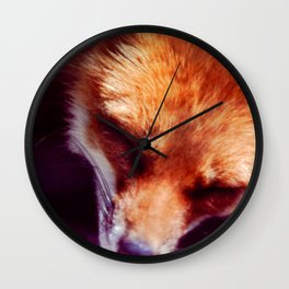 The Red Fox is sleeping, be quiet Wall Clock