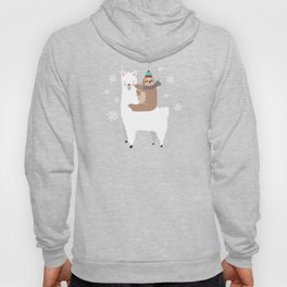 Sloth Riding Llama Funny Christmas Scarf Santa Hat Hoody