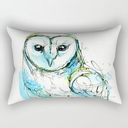 Aqua Tyto Owl Rectangular Pillow