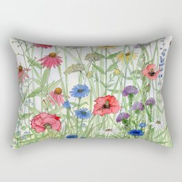 Watercolor of Garden Flower Medley Rectangular Pillow